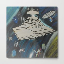 Galactic Starship Battle SciFi Spray Painting Metal Print