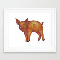 piglet Framed Art Prints featuring Patterned Piglet by artworkbyemilie