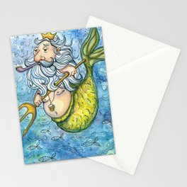 Ocean Neptun Watercolor Illustration Stationery Cards