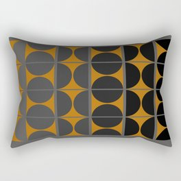 Black and Gray Gradient with Gold Squares and Half Circles Digital Illustration - Artwork Rectangular Pillow
