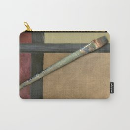 Artist Brush On Abstract Copper Canvas Artwork - Vintage - Modern Art - Painter Carry-All Pouch