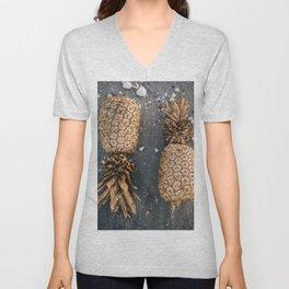 Gold Pineapple Print Unisex V-Neck