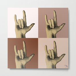 """I love you"" in sign language - Brown Gold Metal Print"