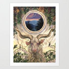 White Magic Goat Art Print