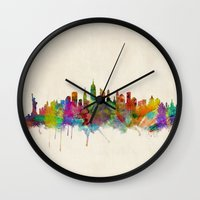 new york city Wall Clocks featuring New York City Skyline by artPause