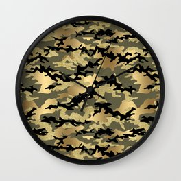 Gold Green Army Print Camouflage Wall Clock
