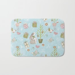 From Bunnies And Christmas - Cute teal X-Mas Pattern Bath Mat