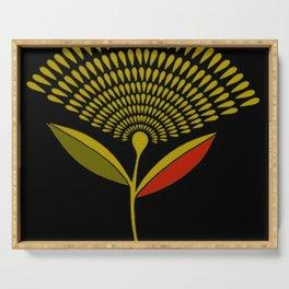 Mid Century Modern Dandelion Seed Head In Aspen Gold Serving Tray