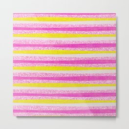 Pastel Violet Pink Yellow Faux Glitter Summer Stripes Pattern Metal Print