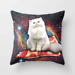 Space cat pizza Throw Pillow