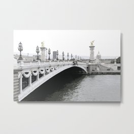 Pont Alexandre III and the Seine river in Paris Metal Print