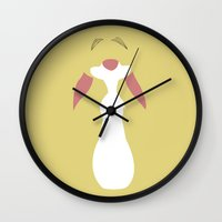 winnie the pooh Wall Clocks featuring Winnie the Pooh - Rabbit by TracingHorses