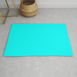 Neon Aqua Blue Bright Electric Fluorescent Color Rug