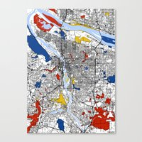 portland Canvas Prints featuring Portland by Mondrian Maps