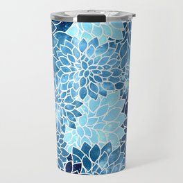 Space Dahlias Blue Ice Travel Mug