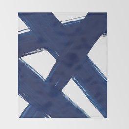 Indigo Abstract Brush Strokes | No. 3 Throw Blanket