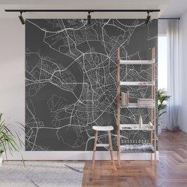 Dusseldorf Map, Germany - Gray Wall Mural