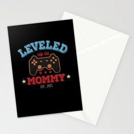 Leveled up to Mommy Est 2021 Mothers Day Stationery Cards