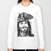 jack sparrow Long Sleeve T-shirts featuring Jack Sparrow by Brittney Patterson