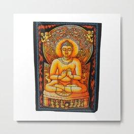 Buddha Meditation Orange Batik Wall Hanging Tapestry - See more at: http://www.handicrunch.com/en/pr Metal Print