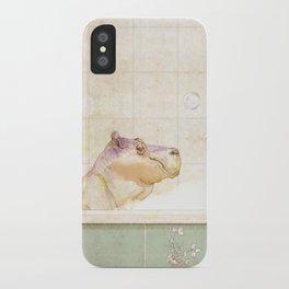 Hippo in the bath iPhone Case