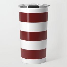 Prune - solid color - white stripes pattern Travel Mug