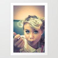 Teenage Girl in Cafe Enjoying a Milkshake Art Print