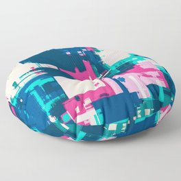 Teal, Blue and Pink Abstract Fusion Floor Pillow