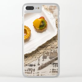 Three fruit tarts presented on an elegant antique china plate Clear iPhone Case