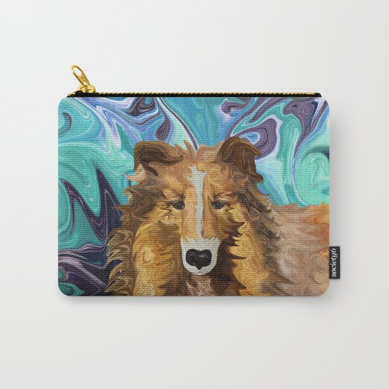 The Inquisitive Collie of the Psychedelic Dog Parade Carry-All Pouch