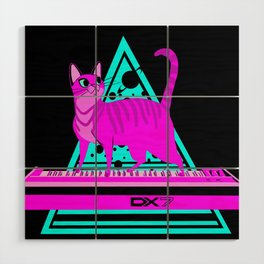Pink Cat in Space Wood Wall Art