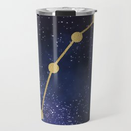 Golden Aries Zodiac Sign Constellation Galaxy Art Travel Mug