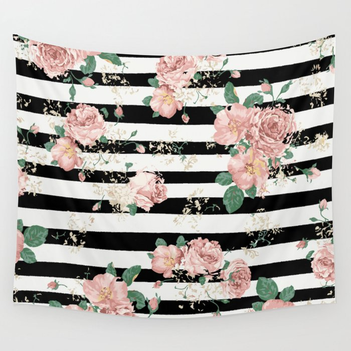 VINTAGE FLORAL ROSES BLACK AND WHITE STRIPES Wall Tapestry