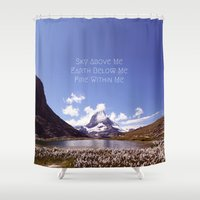 skyrim Shower Curtains featuring Skyrim Quote: Sky above me, Earth below me, Fire within me by Purshue feat Sci Fi Dude