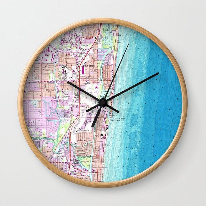 Vintage Map of Boca Raton Florida (1962) Wall Clock