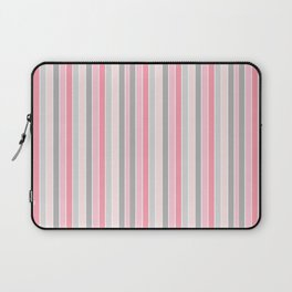 Classic Pink and Gray Stripes Laptop Sleeve