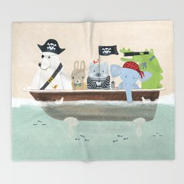 the pirate tub Throw Blanket