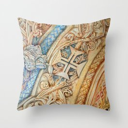 Mosteiro da Batalha. Monastery. Stone art . details. Throw Pillow