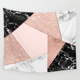 Modern rose gold glitter black white marble geometric color block Wall Tapestry