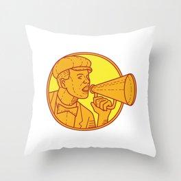 Movie Director Megaphone Vintage Circle Mono Line Throw Pillow