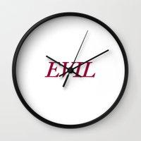 evil Wall Clocks featuring EVIL by Kian Krashesky