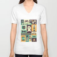 risa rodil V-neck T-shirts featuring Empty Hearse by Risa Rodil