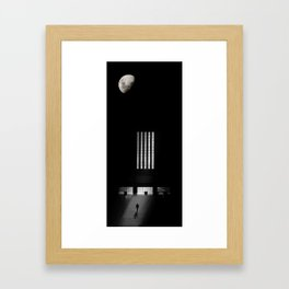 The moon and Union Train Station Framed Art Print