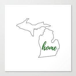 Michigan - Home - White Green Canvas Print