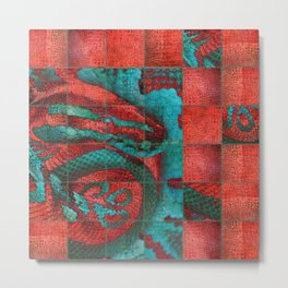 Abstract Red and Teal Snack on Leather Texture Metal Print