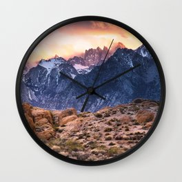 Mount Whitney and Alabama Hills Sunset Wall Clock