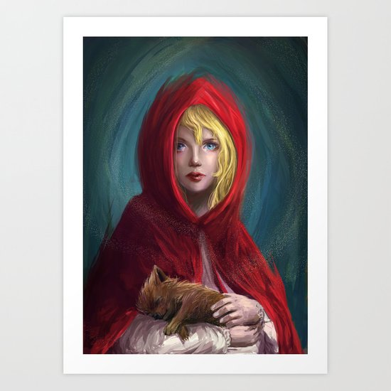 Red and Little Wolf Art Print