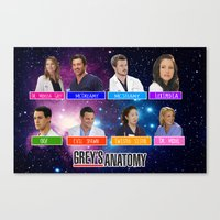greys anatomy Canvas Prints featuring Greys Anatomy nicknames by QueenOfAwesome95