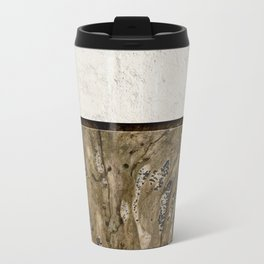 Cream Cement and Gnarled Wood Patterns Travel Mug