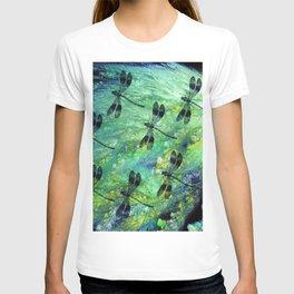 Seven Dragonflies on Green Blue Background T-shirt